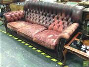 Sale 8412 - Lot 1018 - Highback Chesterfield Style Three Seater Lounge
