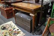 Sale 8489 - Lot 1021 - Maple Fold Over Games Table with Blue Felt Top & Compartment Below on Cabriole Legs