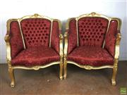 Sale 8649R - Lot 192 - Gilt Timber Framed Armchairs Upholstered in Red (H: 93cm)