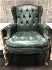 Sale 8817 - Lot 1093 - Green Leather Wingback Armchair