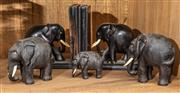 Sale 8942H - Lot 102 - A group of timber elephants including bookends