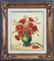 Sale 8973 - Lot 2010 - S. Petsas Red Poppies, 1987 acrylic on canvas, 45 x 39cm (frame)
