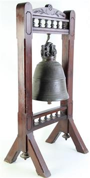Sale 8989 - Lot 1 - Large Brass Burmese Bell on Timber Stand (H:93 x W:47cm)