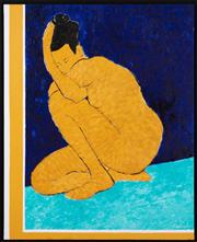 Sale 9020H - Lot 84 - Linda Ting Wareham, Crouching nude, oil on canvas, SLR in a box frame 100x81cm