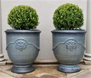 Sale 9087H - Lot 264 - A pair glazed French Anduze style urns with Buxus spheres. Pot height: 60 cm , Total height: 1m , Pot diameter 55cm