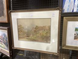 Sale 9101 - Lot 2030 - H. Murray Highland Cottage & Creek, watercolour, frame: 55 x 67 cm, signed lower left -