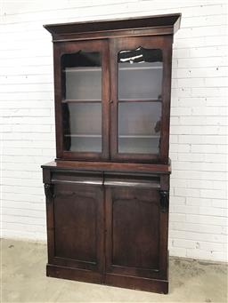 Sale 9126 - Lot 1095 - Early Victorian Mahogany Bookcase, with two shield shaped astragal doors, above two frieze drawers & two matching timber panel doors...
