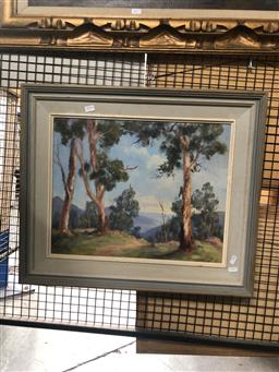 Sale 9139 - Lot 2076 - Sheila Forbes Gum Trees, Jamison Valley, oil on board, frame: 58 x 68 cm, signed lower right
