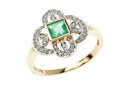 Sale 9168J - Lot 352 - AN EDWARDIAN INSPIRED EMERALD AND DIAMOND RING; centring a carre cut emerald to 9ct gold pierced foliate surround set with round bri...