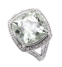 Sale 9221 - Lot 382 - A SILVER GREEN AMETHYST AND DIAMOND COCKTAIL RING; claw set with a cushion cut green amethyst to surround and split shoulders set wi...