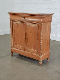 Sale 9255 - Lot 1152 - Baltic pine 2 door cabinet with single drawer (h:100 x w:92 x d:39cm)