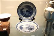 Sale 8308 - Lot 100 - Blue & White Pair of Export Plates decorated with Mountain Scenes