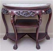 Sale 8593A - Lot 47 - A Chinese rosewood mother of pearl inlaid demilune side table, H 74 x W 90 x D 42cm