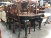 Sale 8740 - Lot 1601 - Timber Seven Piece Dining Setting incl. Extension Table with Single Leaf & Six Chairs with Upholstered Seat (Winder in Office)