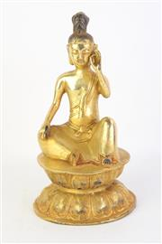 Sale 8783 - Lot 172 - Chinese Gilt Bronze Seated Guanyin, Marked to Back ( H 22cm)