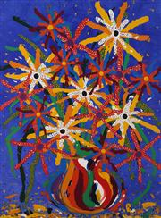 Sale 8825A - Lot 81 - Rebecca Pierce - Untitled (Red and White Flowers in Orange and Red Vase) 122 x 91cm