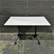Sale 8975K - Lot 80 - Breakfast Table with White Marble Top above Cast Iron Base - 120x70cm