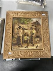 Sale 8981 - Lot 2085 - Balinese School Village Scene with Market Stall and Villagers acrylic on canvas 49 x 55cm (hand-carved wooden frame)