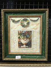 Sale 8990 - Lot 2015 - Artist Unknown Still Life-Floral Wreath and Setting, gouache on board, frame: 25 x 22 cm, unsigned