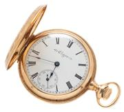 Sale 9046 - Lot 360 - AN ANTIQUE 14CT GOLD LADY'S ELGIN POCKET WATCH; white enamel dial with Roman numerals subsidiary seconds dial and blued hands on a 7..