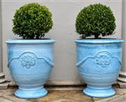Sale 9087H - Lot 265 - A pair glazed French Anduze style urns with Buxus spheres. Pot height: 60 cm , Total height: 1m , Pot diameter 55cm