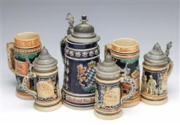 Sale 9098 - Lot 204 - Collection of German Steins (tallest H25cm)