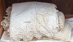 Sale 9120H - Lot 236 - A quantity of ivory and cream crochet linen tablecloths and napkins.