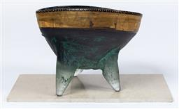 Sale 9130S - Lot 25 - A Brian Hirst large tri footed votive bowl with gilt painted rim. Height 31cm x Width 42cm x Depth 34cm, together with a slab of limest
