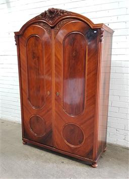 Sale 9142 - Lot 1005 - 19th Century Continental Walnut Armoire, with carved crest & two oval panel doors - some faults (h:185 x w:125 x d:50cm)