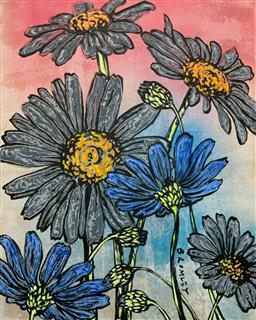 Sale 9248H - Lot 185 - DAVID BROMLEY (1960 - ) Original Synthetic Polymer Painting on Canvas Title: Field of Flowers Signed: Lower Right Image Size...