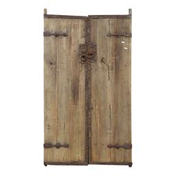 Sale 9245T - Lot 63 - A pair of antique Chinese timber doors, with metal hardware. Dimensions: H 197 x W 109 x D 10cm