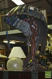 Sale 8284 - Lot 1019 - Large Lady Form Table Lamp with Umbrella Shade