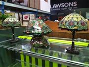 Sale 8562 - Lot 1069 - Collection of Three Leadlight Shade Table Lamps
