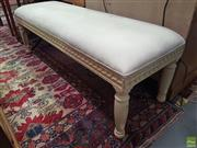 Sale 8593 - Lot 1024 - French Style Cream Footstool (52 x 152 x 50cm)