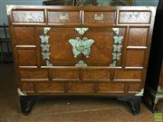 Sale 8649R - Lot 193 - Korean Timber Chest of Three Drawers and Two Doors (H: 83 W: 95 D: 43cm)