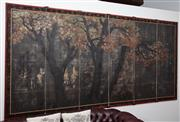 Sale 8782A - Lot 119 - An antique Japanese six panel screen depicting maple trees. Height 174cm x 354cm