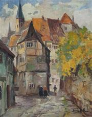 Sale 8907 - Lot 578 - Bruno Juttner (1880 - 1965) - Dutch Street Scene 46 x 39 cm