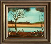 Sale 8976H - Lot 84 - Kevin Charles (pro) Hart, Picnic study, oil on board SLC 21x26cm