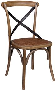 Sale 9010F - Lot 34 - A SET OF EIGHT ELM CROSSBACK DINING CHAIRS WITH METAL STRAP DETAIL. H: 90 W: 47 D: 46cm
