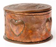 Sale 9048A - Lot 8 - A John Pearson circular copper lidded trinket box with stork motif and embossed heart to body, the base marked JP1903, Diameter 13cm...