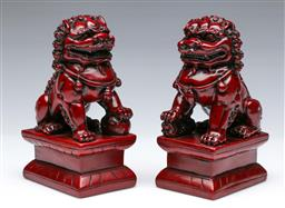 Sale 9098 - Lot 360 - Pair Of Resin Temple Dogs H: 17cm