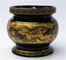 Sale 9130S - Lot 69 - An oriental glazed incense bowl with Greek key pattern rim & stamp to base with dragon and lotus motif. Height 17cm