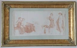 Sale 9135H - Lot 136 - Classical Conte drawing - Figural study of draped women, circa 1800