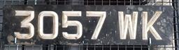 Sale 9134 - Lot 1063 - Vintage pressed tin English number plate (h:12.5 x w:41cm)