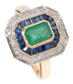 Sale 9160 - Lot 381 - A LATE DECO STYLE EMERALD, SAPPHIRE AND DIAMOND RING; centre rub set with an emerald cut emerald to double surround of mixed cut blu...
