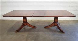 Sale 9188 - Lot 1529 - Flame mahogany twin pedestal extension dining table (h:80 x w:236 x d:118cm0