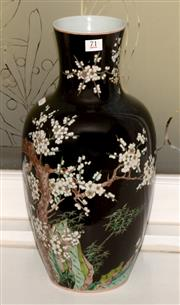 Sale 8107B - Lot 71 - Chinese black ground vase, birds and flowers design, marks to base, H42cm