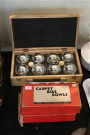 Sale 8189 - Lot 172 - Boules Set in Timber Box with a Set of Biased Carpet Boules
