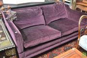 Sale 8317 - Lot 1011 - Good British Duresta 3 Seater Knole Settee, in purple velvet and having drop-down arms, with turned and gilt finials & tassels, rais...