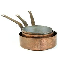 Sale 8351A - Lot 50 - Set of Three Graduated French Copper Saucepans diameter 19-24cm depth 10-7cm(approx weight 4kg)
